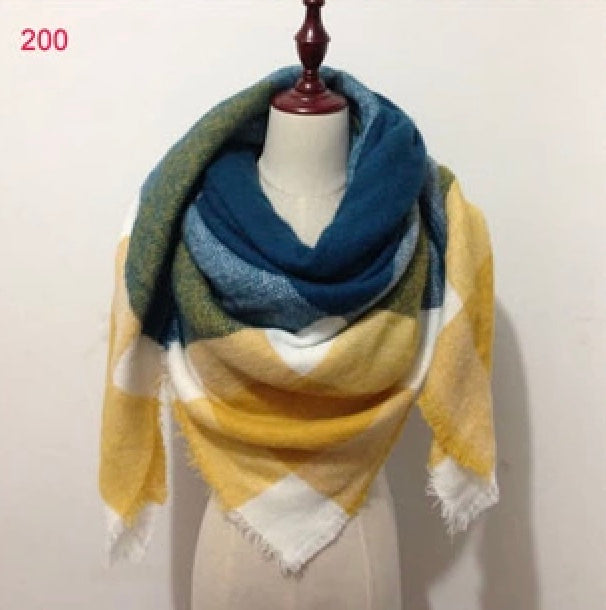 Mustard Blue Plaid Blanket Scarf Fall and Winter Scarves