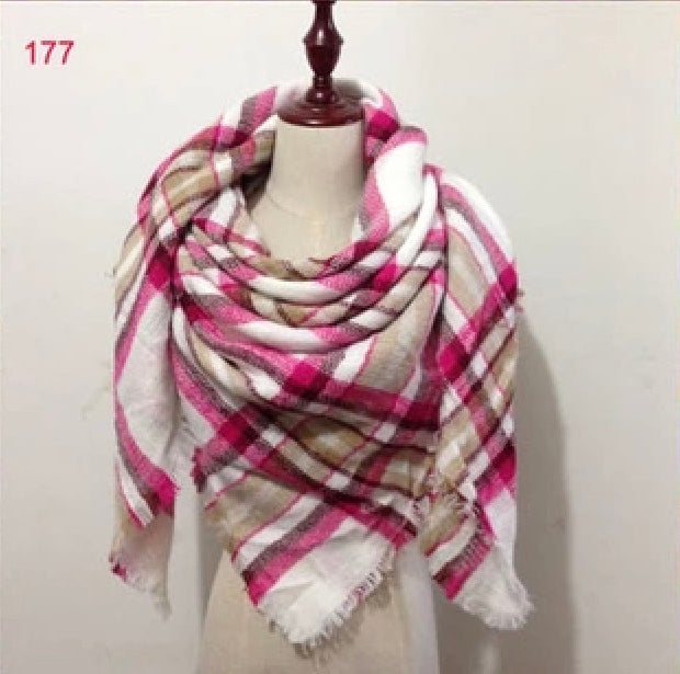 Pink Plaid Blanket Scarf Fall and Winter Scarves