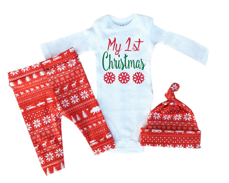 My First Christmas Three Piece Clothing Set
