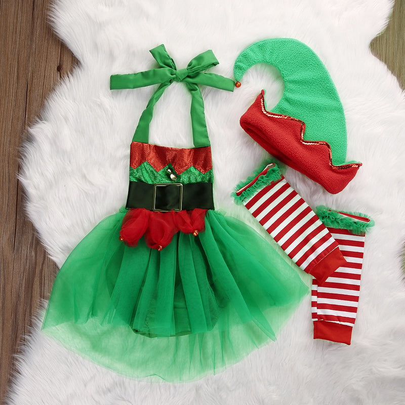 Elf Romper Set with Leg Warmers