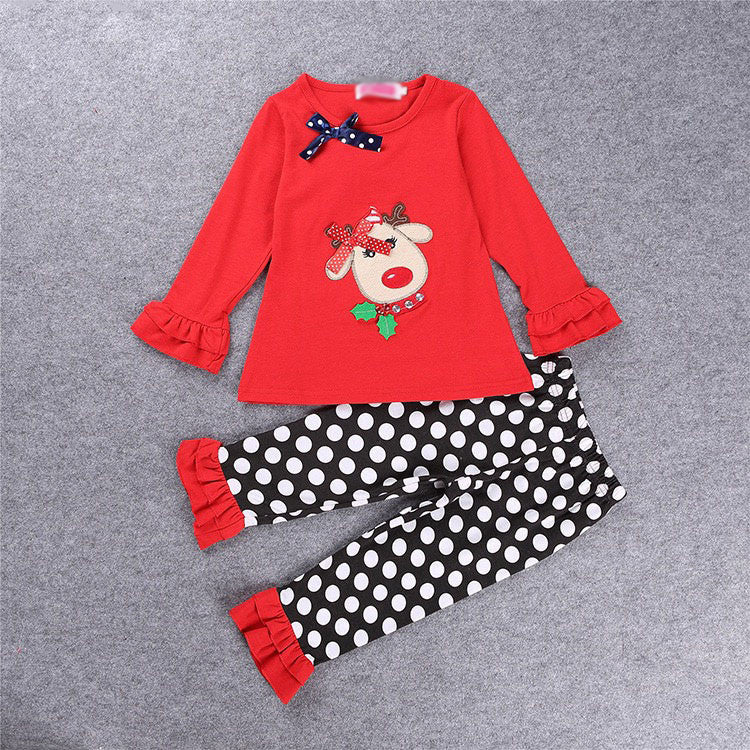 Reindeer Polka Dot Outfit Ready To Ship!