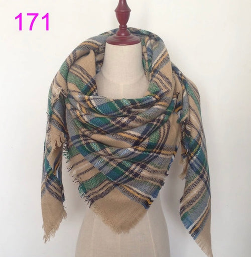 Beige Green Mixed Plaid Blanket Scarf Fall and Winter Scarves