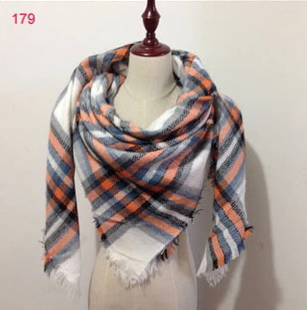 Orange White Plaid Blanket Scarf Fall and Winter Scarves