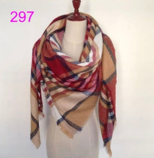 Burgundy Mixed Plaid Blanket Scarf Fall and Winter Scarves