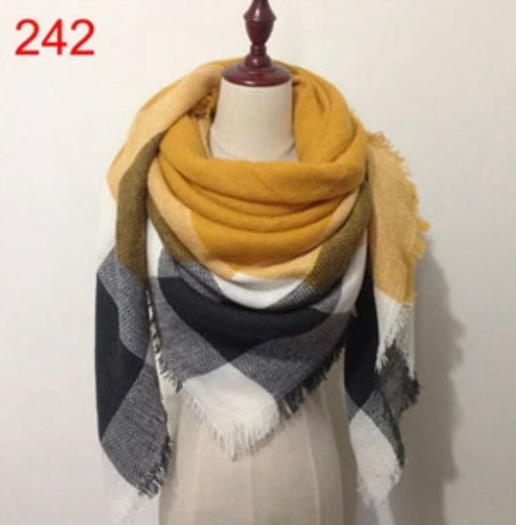 Mustard Black Mixed Plaid Blanket Scarf Fall and Winter Scarves