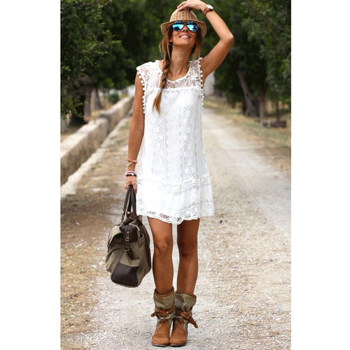 Lace Pom Pom Dress