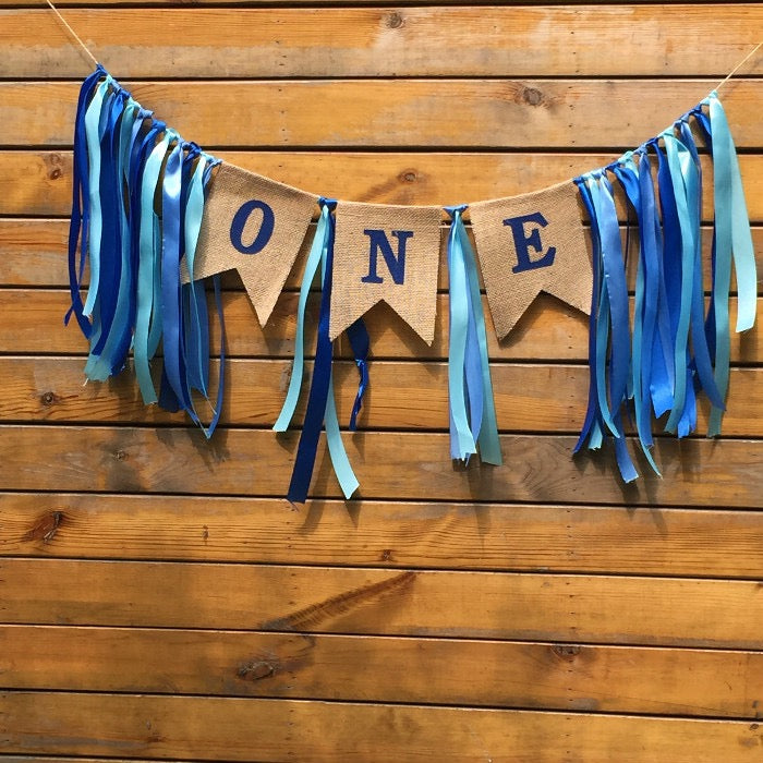 Birthday ONE Banner in Blue or Pink