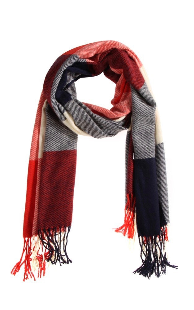 Plaid Red, White, and Blue Scarf For Fall and Winter