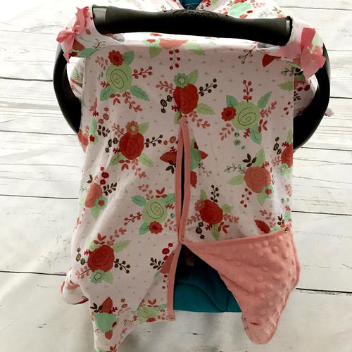 Flower Minky Canopy Cover For Infant Carseat