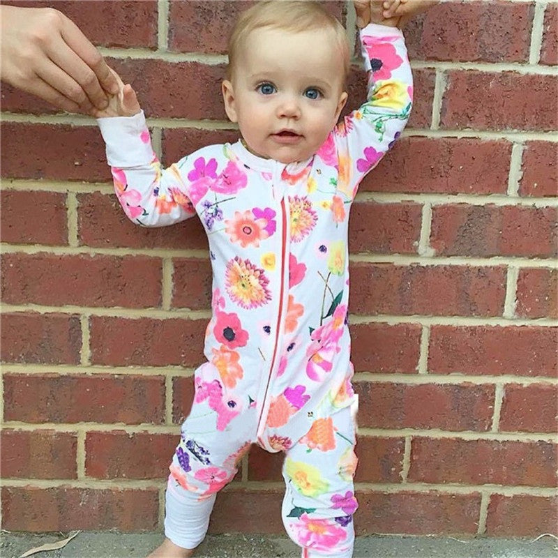 Newborn Baby Spring Flower One Piece Outfit Long Sleeve Sleeper