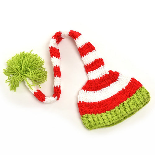 Christmas Photo Prop Hat with Stripes and Big Ball For Newborn, Baby, and Toddler