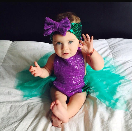 Dark Purple Sequin Mermaid Tutu Swimsuit with Matching Headband