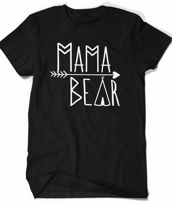 Tribal Mama Bear Graphic T-shirt With A Teepee and Arrow Design