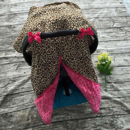 Cheetah Canopy Carseat Cover For Newborn Baby Girl