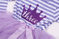 Crown Birthday Tutu Dress Long Sleeve in Purple