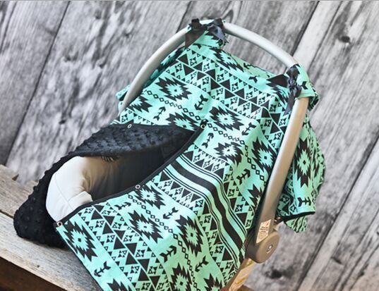Aztec Tribal Mint Green and Black Minky Canopy Cover For Infant Carseat