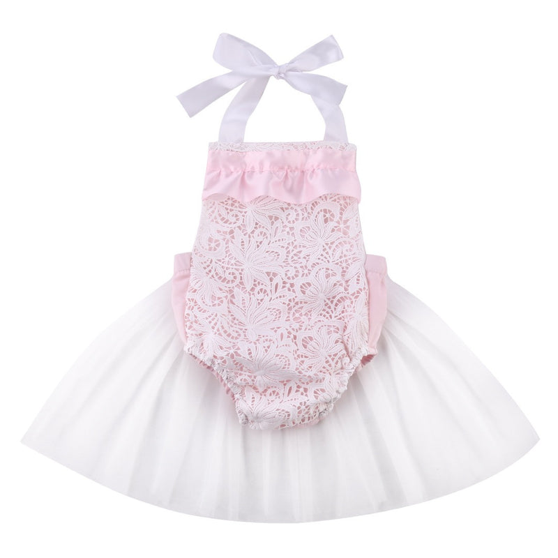 Light Pink Lace Ruffle Tutu Romper For Newborn, Baby, Toddler, Girls