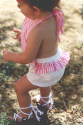 Pink and White Striped Romper with Pom Pom's and Ruffles