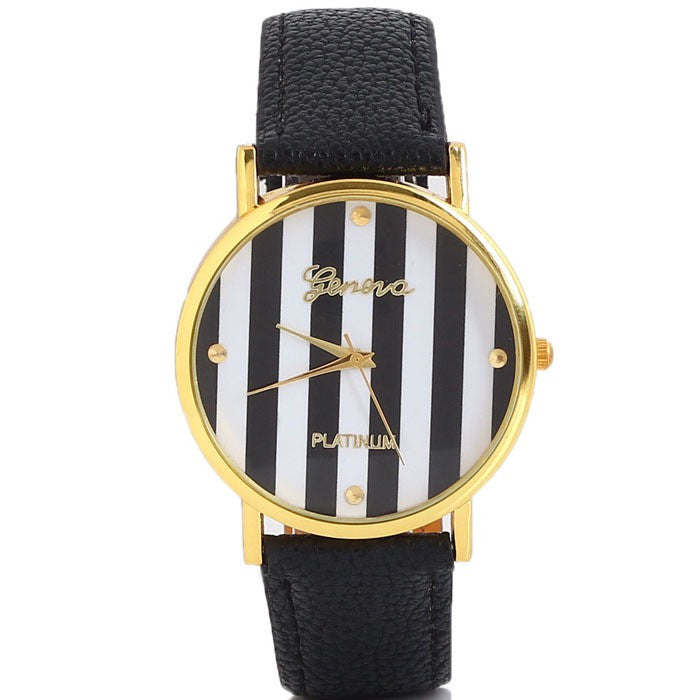 Black and White Striped Watch