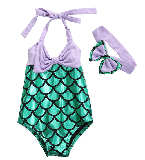 Mermaid Swimsuit Set with Matching Headband in Green and Purple