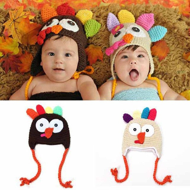 Thanksgiving Turkey Crochet Hat For Newborn, Baby, and Toddlers