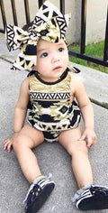 Aztec Gold Black Fringe Romper and Headband