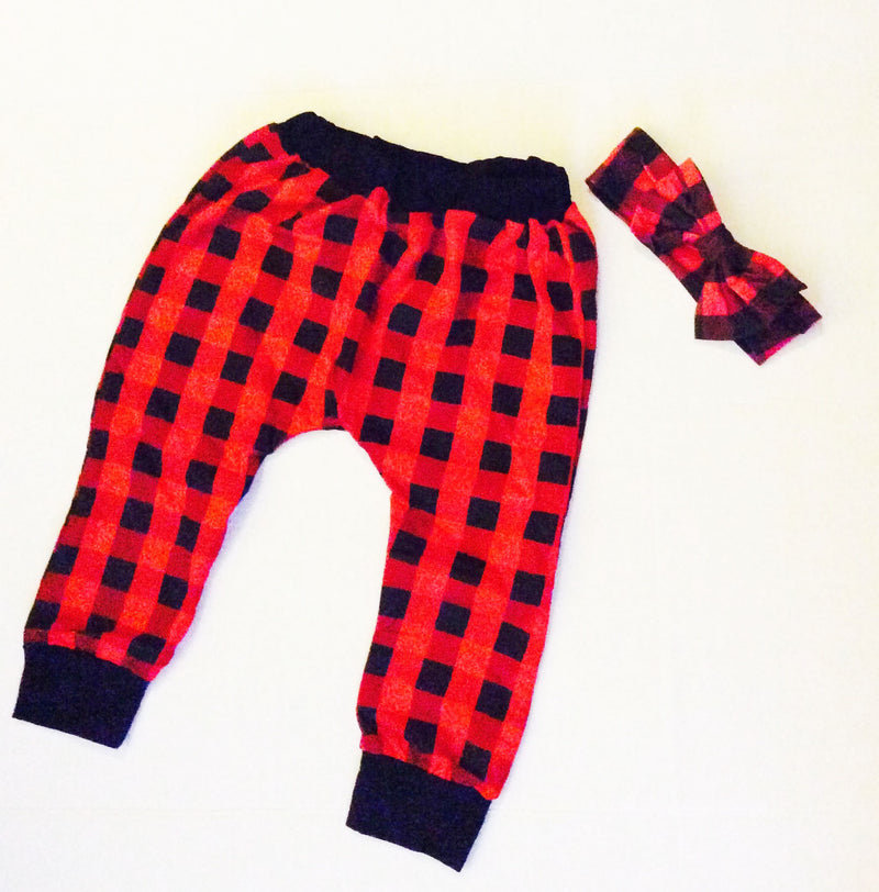Red and Black Flannel Style Harem Pants Leggings With Matching Bow For Baby and Toddler