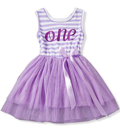 Birthday Tutu Dress for Baby Girl In Purple and White Stripes