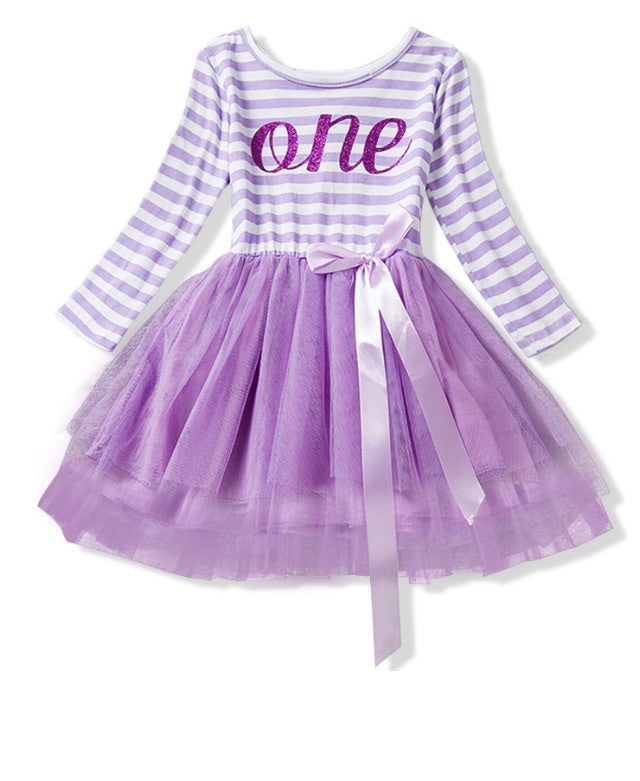 Birthday Tutu Dress Long Sleeve in Purple READY TO SHIP!