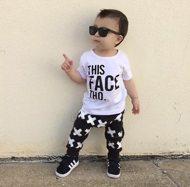 "Clothing Set For Baby, Toddler, and Kids With The Quote ""This Face Tho"""
