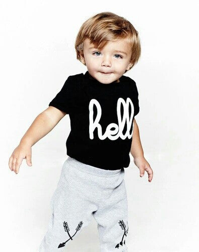 """Hello"" Clothing Set With Shirt in Black and Arrow Pants"
