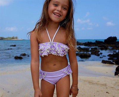 Purple Pom Pom Two Piece