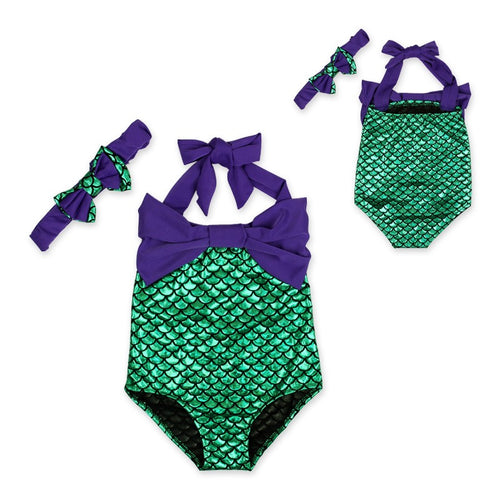 Ready To Ship! Dark Purple Mermaid Swimsuit & Headband