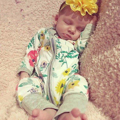 Newborn Baby Flower One Piece Outfit Long Sleeve Romper