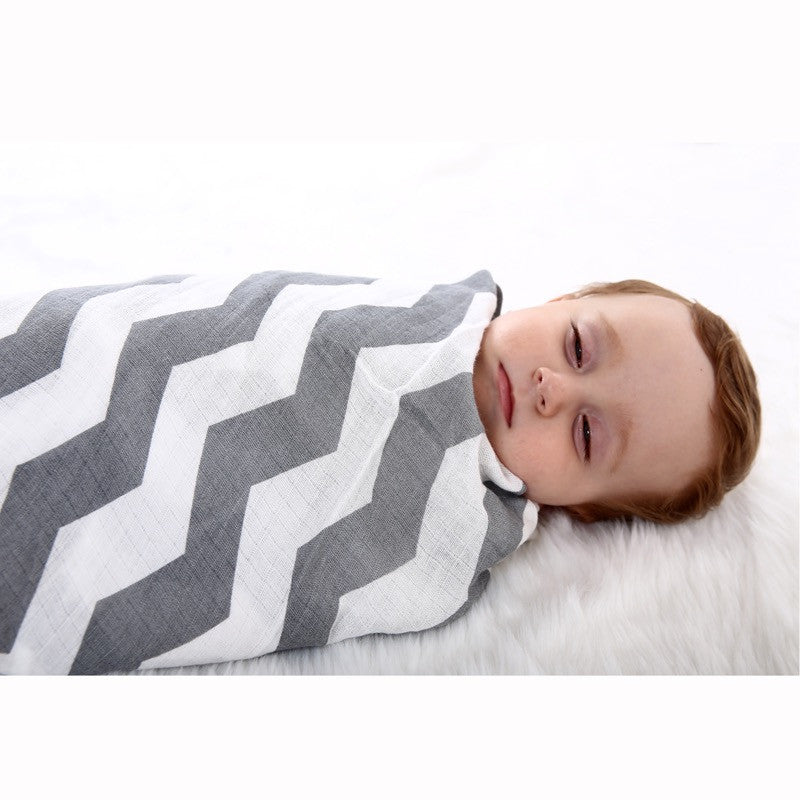 Breathable Organic Chevron Muslin Baby Swaddle Blanket- Gray and White Chevron