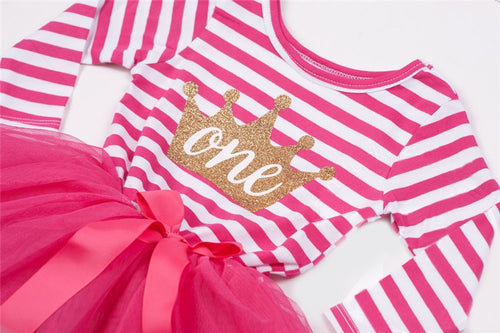 Crown Birthday Tutu Dress Long Sleeve in Hot Pink