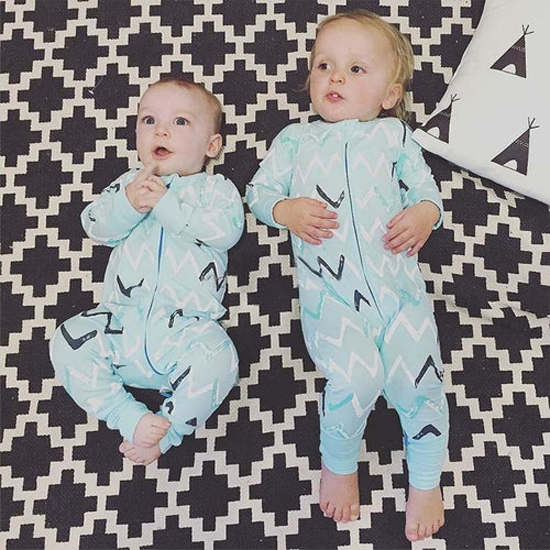 Newborn Blue One Piece Outfit Long Sleeve Sleeper