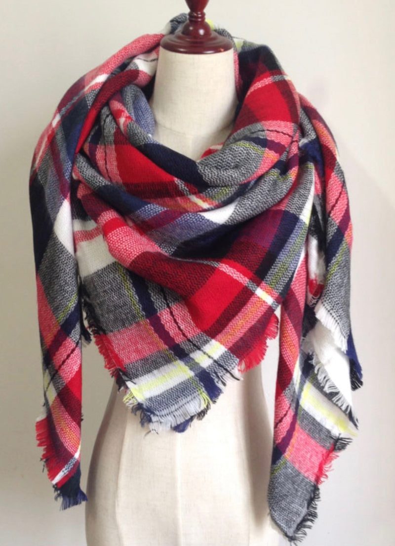 Red, White, and Black Plaid Blanket Scarf Fall and Winter Scarves