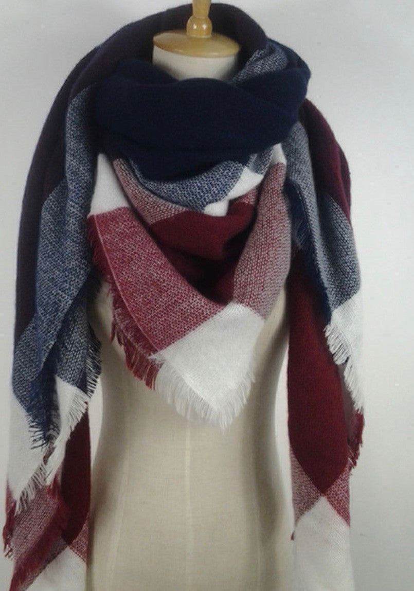 d1994a1dc Red, Navy Blue, and White Plaid Blanket Scarf Fall and Winter Scarves –  RandomRegalia