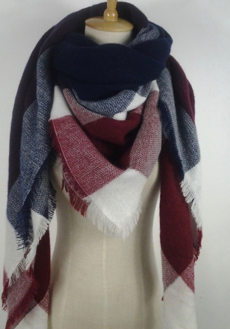 Red, Navy Blue, and White Plaid Blanket Scarf Fall and Winter Scarves