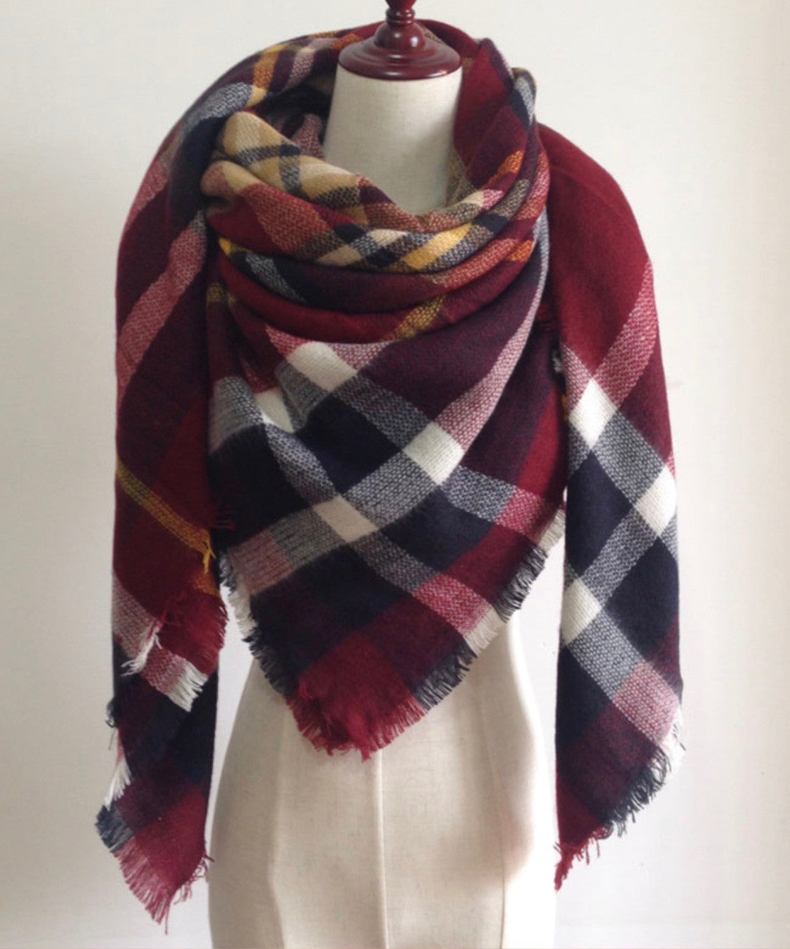 1d8c596fe Burgundy Red, Navy Blue, and White Plaid Blanket Scarf Fall and Winter –  RandomRegalia
