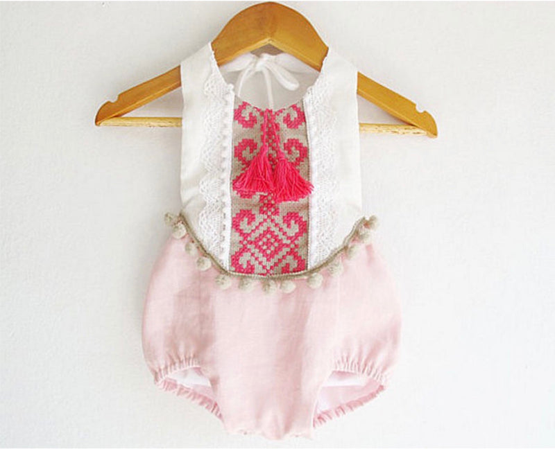 Aztec Boho Pom Pom Romper In Pink and White