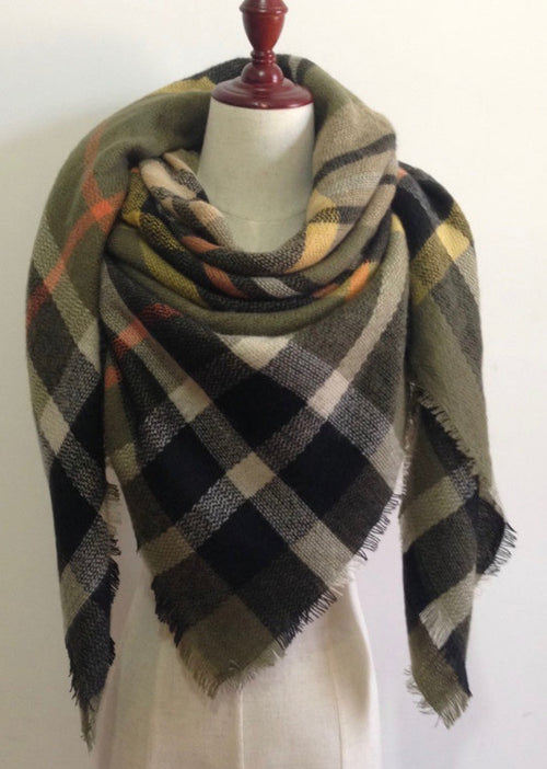 Green Plaid Blanket Scarf Fall and Winter Scarves