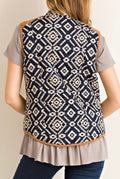 Tribal Vest With Camel Faux Suede Contrast