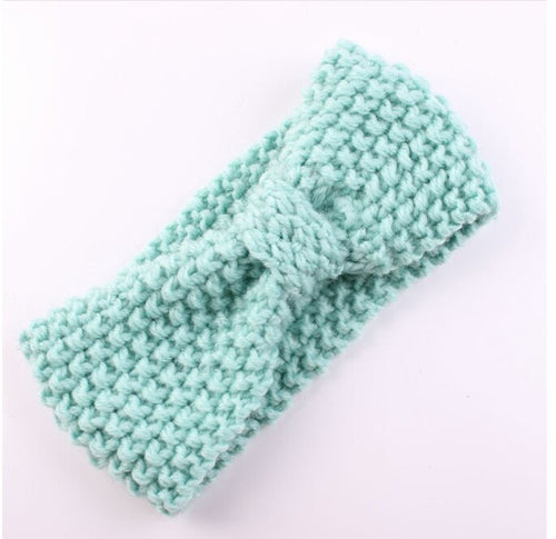 Pale Blue Knit Headband for Baby and Toddler