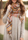 Fall Colored Plaid Blanket Scarf Fall and Winter Scarves