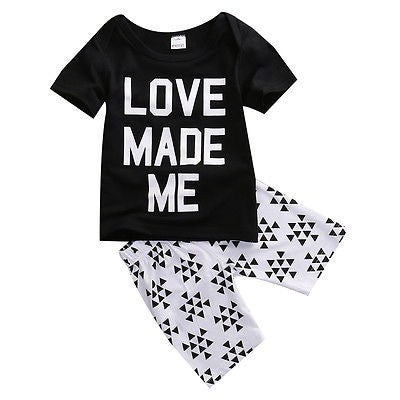 Love Made Me Summer Outfit Set With Shorts and Shirt Set For Baby and Toddler