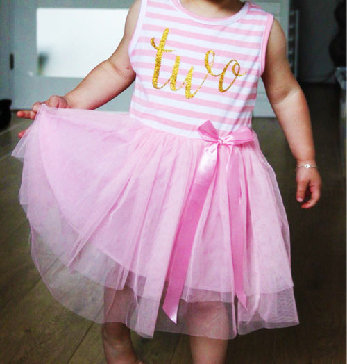 Birthday Tutu Dress Tank Top in Pink
