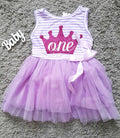 Crown Birthday Tutu Dress In Purple