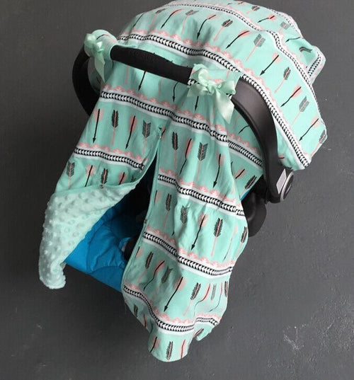 Mint and Pink Peach Aztec Tribal Arrow Canopy Cover For Infant Carseat